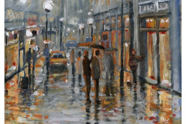 Busker In The Rain by John Bird