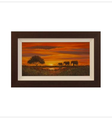 Sunset At The Watering Hole By John Wood